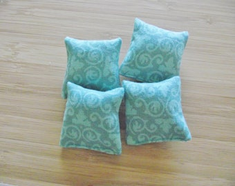 Miniature doll house 12th scale sofa or scatter cushions x 4 turquoise  print