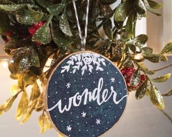 """Handpainted Wooden Ornament - """"Wonder"""" - Ready-to-Ship"""