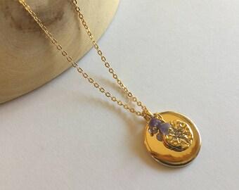"""Collier mi-long, médailles or, pierres zircon et tanzanite sur chaine plaquée or : Modèle """"Axelle"""""""