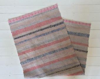 RR1809  Vintage Handmade Swedish Ragrug in Pastels Grey Blue Pink Stripey
