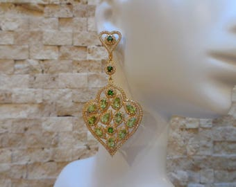 Peridot and Chrome Diopside earrings in 18K Gold Vermeil