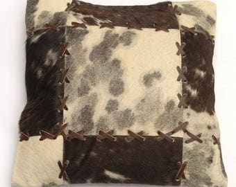 Natural Cowhide Luxurious Patchwork Hairon Cushion/pillow Cover (15''x 15'')a210