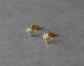 Gold Palm Tree Stud Earrings - Gold plated over Sterling Silver