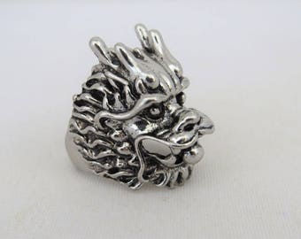 Vintage Mens Jewelry Silver Tone Dragon's Head Gothic Ring Size 10.5
