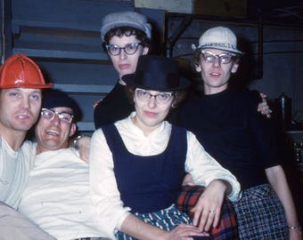 Vintage Photo Slide Friends Wearing Hats Cat Eye Glasses New Years Eve Party 1950's, Original Found Photo, Vernacular Photography