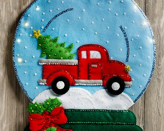 Bucilla Winter Snowglobe ~ Felt Christmas Wall Hanging Kit #86828 Truck, Lights