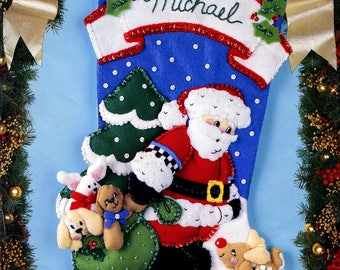 "Bucilla Santa & Rudolph ~ 18"" Felt Christmas Stocking Kit #83013 Daisy Kingdom"