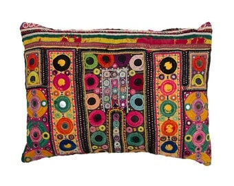 Embroidered Rajasthani CUSHION COVER with pad - Design 3 – 31 x 42 – Cotton and Couched Metal Embroidery