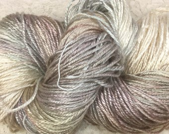 Silk bamboo yarn worsted wt hand dyed 232 yds irish cream knitting shawls scarf cowl sweater great adirondack