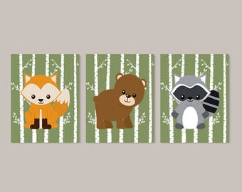 Woodland Animals Nursery Wall Art Boy Nursery Decor Set of 3 Prints Or Canvas Forest Animals Fox Raccoon Bear