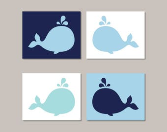 Whale Nursery Decor Wall Art Whale Bathroom Pictures Set of 4 Prints Or Canvas Boy Nursery Art Nautical Nursery Decor Whale Nursery Prints