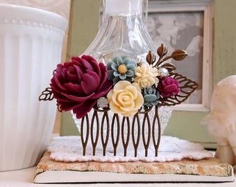 Burgundy red roses Dusky blue and Ivory flowers country garden wedding hair accessory Vintage inspired hair comb