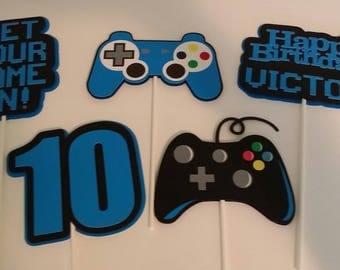 Gamer Birthday Party - Birthday Party Centerpiece Sticks - Video Game Party Centerpiece Sticks - Party Decoration Sticks Set of 5
