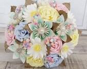 Paper Flower wedding bridal bouquet alternative pretty vintage cute english country pale pastel rainbow rose daisy bouquet