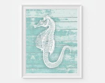 Seahorse Wall Art, Seahorse Art, Nautical Decor, Nautical Wall Art, Coastal Art, Beach House Art, Beach Decor, Seahorse Print