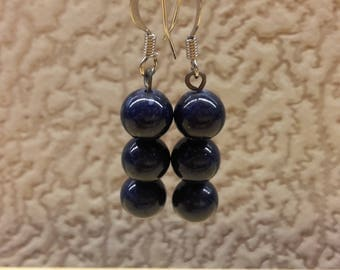Vintage Handmade  Dark Blue Russian Lapis Lazuli Gemstone Round Beaded Earrings