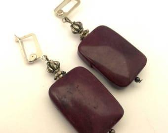 Vintage Handmade Russian Dark Purple Jasper Square Gemstone Long Beaded Earrings