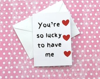Sie Sind So Glücklich, Mich Witzigen Spruch Valentinstag Jahrestag  Liebeskarte Für Freund/Freundin/