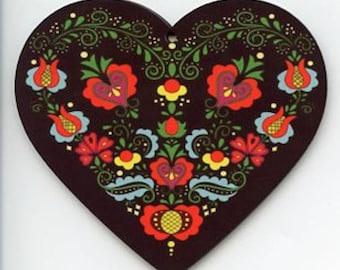 Folk Art Flowers Heart Ornament #EL140