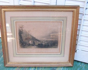Original Antique Vintage Engraving Bartlett Descent Into the Valley of Wyoming (Pennsylvania) Professionally Framed