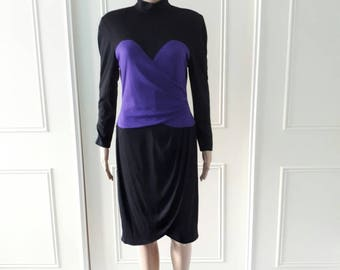 Zandra Rhodes 1980's vintage dress vintage midi dress vintage high neck dress black and purple dress zip fastening size 12