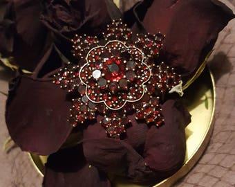 Antique flat cut garnet star/flower brooch