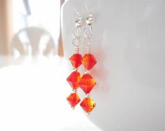 Fireopal Crystal Earrings, Swarovski Crystal Earrings, Orange & Yellow Earrings, Sterling Silver Jewelry, Drop Earrings, Dangle Earrings