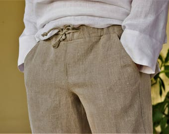 Natural linen men's shorts.