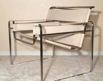 Wassily chair by Marcel Breuer for Knoll White canvas