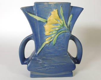 "Roseville Pottery Freesia 7 Inch Vase #200-7"" Vintage 1940's"