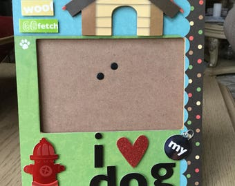 "I love my dog, Dog picture frame ""I love my dog"", cute embellished dog picture frame,"