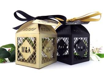 Geometric Wedding Favor Box Laser Cut Favour Black Gold Personalised
