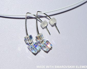 SWAROVSKI crystal earrings cube crystal ab / Silver 925