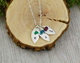 Customizable Initials and Birthstones Necklace - Custom Personalized Hand Stamped Jewelry - New Mom or Grandmother Necklace