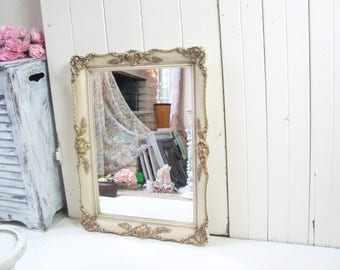 Vintage Ornate Mirror, Shabby Chic Antique White Mirror, Rustic Mirror,  Farmhouse Mirror,