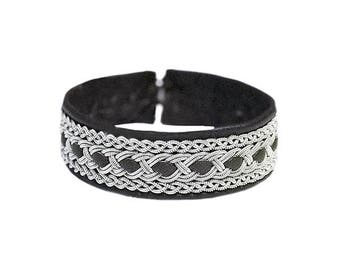 No. 1130: Sami Bracelet of pewter thread and reindeer leather.