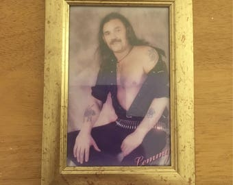 "Lemmy from Motorhead kitsch colour print in a gold 6x4"" frame"