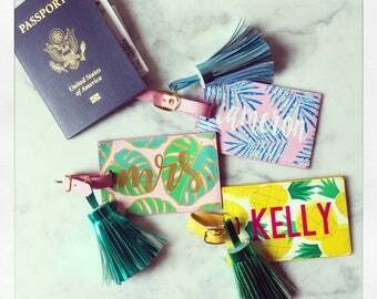 Personalized Leather Luggage Tag with Tassel