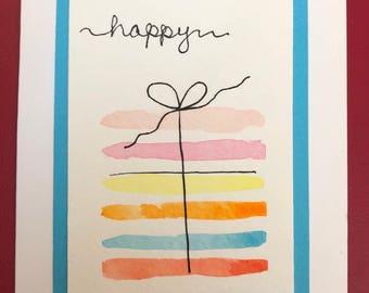 Handpainted Watercolor Birthday Present Greeting Card