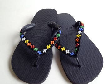 Beaded Havaianas Top Sandals Flip Flop, Size 6