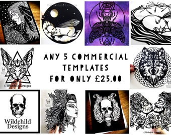 Any 5 Commercial Use Paper Cutting Templates for Only * 25.00 * Beautiful Gothic-Inspired Designs Paper Cut Paper Bundle