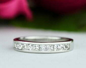 2/3 ctw Princess Channel Set Band, Half Eternity Wedding Band, Engagement Ring, Man Made Diamond Simulants, Bridal Ring, Sterling Silver