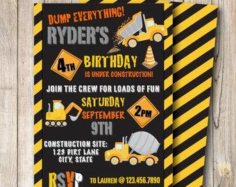 Construction Birthday Invitation,Construction Party, Boy Birthday, construction Birthday, Birthday, 5x7 Digital invitation