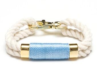 Nautical Rope Bracelet / Ivory Rope Bracelet / Gold Nautical Bracelet / Nautical Jewelry / Nautical Gift / Light Blue Rope Bracelet