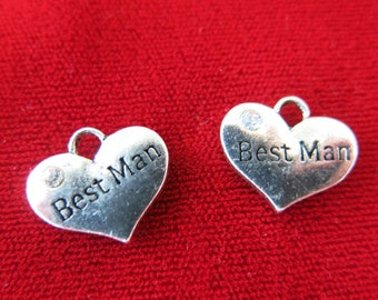 """BULK! 15pc """"Best man"""" charms in antique silver style (BC243B)"""