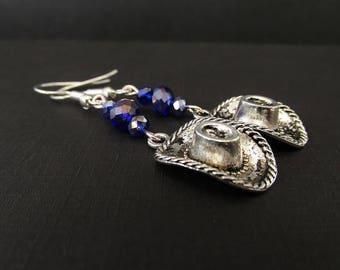 Cowgirl Hat Charm Earrings - Silver Cowboy Earrings - Western Dangle Earrings - Beaded Crystal Earrings - Handmade Jewelry Gifts