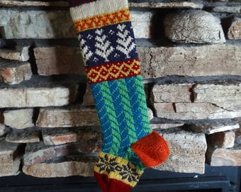 Personalized Christmas Stocking, Knit Christmas Stockings, Knitted Christmas Stocking, Christmas Stocking Knit, Fair Isle, Large Plum Trees