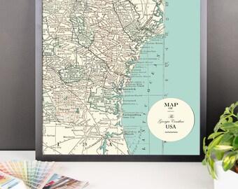 Georgia Shoreline Map Framed print - matte poster print, wall decor, travel, maps, USA, Georgia, Atlantic