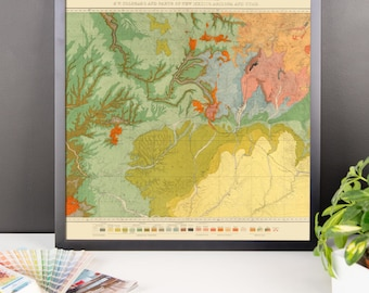 Southwest Geological Map Framed poster Print - Utah, Colorado, Arizona, New Mexico, southwest decor
