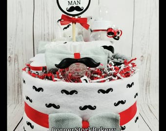 Mustache Diaper Cake  Little Man Diaper Cake  Mustache Baby Gift  Little Man Baby Gift  Little Man Baby Shower  Boy's Diaper Cake  Baby Gift
